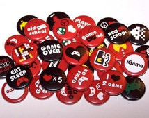 """Video Gamer Party Favors Set of 10 Buttons 1"""" or 1.5"""" Pin Back Buttons or 1"""" Magnets Red Black"""
