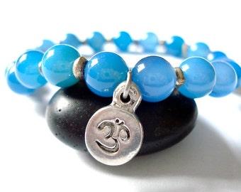 Blue Moonstone Yoga Bracelet, Moonstone, Silver Om Charm