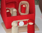 Handmade Red/Tan Cozy Cottage Felt House with 5 Peg People, Cradle and Baby Bed