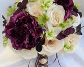 """RESERVED LISTING 18 Piece Package Wedding Bridal Bride Maid Honor Bridesmaid Bouquet Boutonniere Silk Flower PURPLE""""Lily Of Angeles"""""""