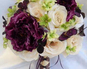 """17 Piece Package Wedding Bridal Bride Maid Honor Bridesmaid Bouquet Boutonniere Silk Flower PLUM PURPLE GREEN Ivory """"Lily Of Angeles"""" IVPU02"""