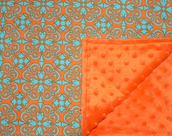 Baby Blanket - Damask in Orange and Turquoise - Orange Minky