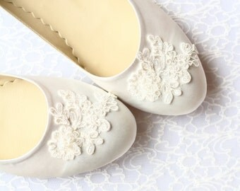 Wedding Flat Shoes Ivory Satin Bridal Ballet Flats with Beaded Lace Bride Engagement Special Night Size 8 (US)