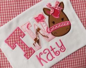 Pony Themed  2nd Birthday Girl's T-shirt Personalized