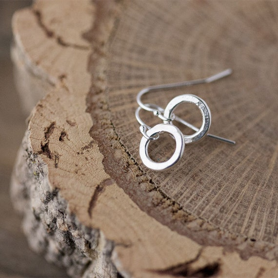 Small Circles Silver Earrings / Tiny Hammered Sterling Earrings / Little Everyday Basics by burnish