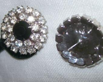 Vintage White & Black Rhinestone Pierced Earrings