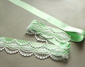 Bridal Sash Belt, Mint Green Ribbon Lace, Beach Romantic Wedding Dress Sash, Spring Wedding