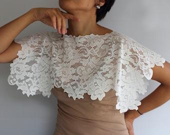 Lace Bridal Cape Shawl Wedding Scarp Lace Top Wear Shoulder Wrap Capelet Bridal Shrug Boho Chic Rustic Wedding Handmade