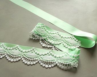 Bridal Sash Belt, Mint Green Ribbon Lace, Beach Romantic Wedding Dress Sash, Spring Wedding