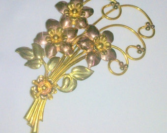 Vintage Sterling Silver Vermeil and Gold Filled Flower Brooch
