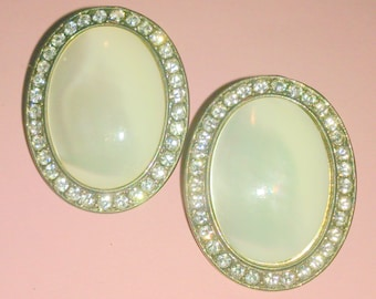Vintage Mother of Pearl and Rhinestone Statement Earrings