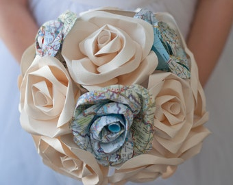 Map and Paper Flower Wedding Bridal 15 Rose Bouquet
