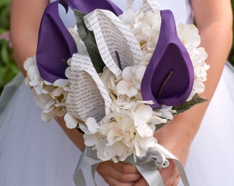 Paper Book Page Calla Lily and Silk Hydrangea Bridal Bouquet