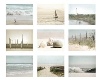 Beach Decor, Ocean Photography, Beach Photography, wall art set of 9 photos,  Shell Photo, Beach House Decor Set, seashells, beach print
