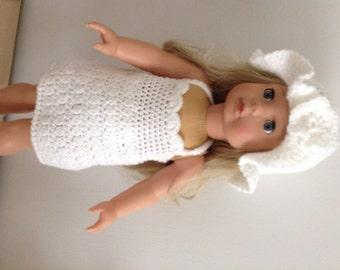 Crochet pattern for a dress set for 18 inch doll American Girl, Gotz doll