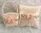 Wedding Pillow and Basket -  Rhinestones and Flowers Ivory or White  Ring Bearer Pillow, Flower Girl Basket Crystals