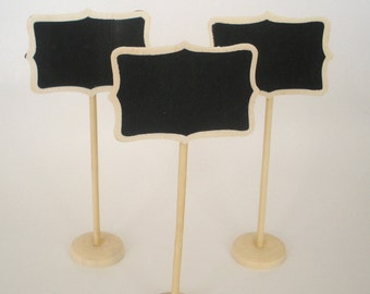 Mini Chalkboard Stands Natural Wood Finish Name Place Settings Buffet Table Weddings  Food Labels Table Markers Choose 3, 5, 8 or 10 Stands
