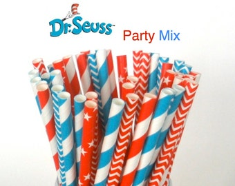 "Paper Straws ""Dr. Seuss"" Party Mix Paper Drinking Straws Cake Pop Sticks Mason Jar Paper Straws Wedding, Birthdays"