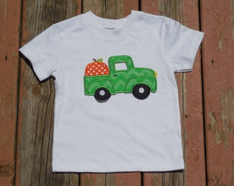 Boys Toddlers Personalized Truck with Pumpkin Shirt