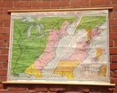 "Early Americana ""International Rivalries"" Vintage Wall Map"