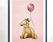 Teddy with Balloon Art Printable - Instant Download