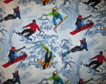 Snowboards Realistic Snowboard Winter Sports Cotton Fabric Fat Quarter Or Custom Listing