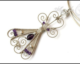 Purple , Sterling silver , gemstone , angel pendant