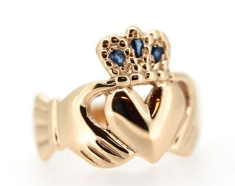 Claddagh  Ring in 9ct Gold with Gem Set Crown