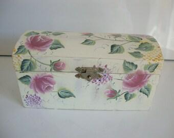 Wood Box,  Painted Roses Leaves, Feminine Decor Storage Box,  Organizer, Wood Jewelry Box, Treasure Box