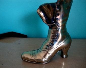 Flower Vase, Brass Tone Planter, Brass Tone Cast Metal Shoe,  Lady's Shoe, Victorian Lady's Shoe, Lady's Boot*