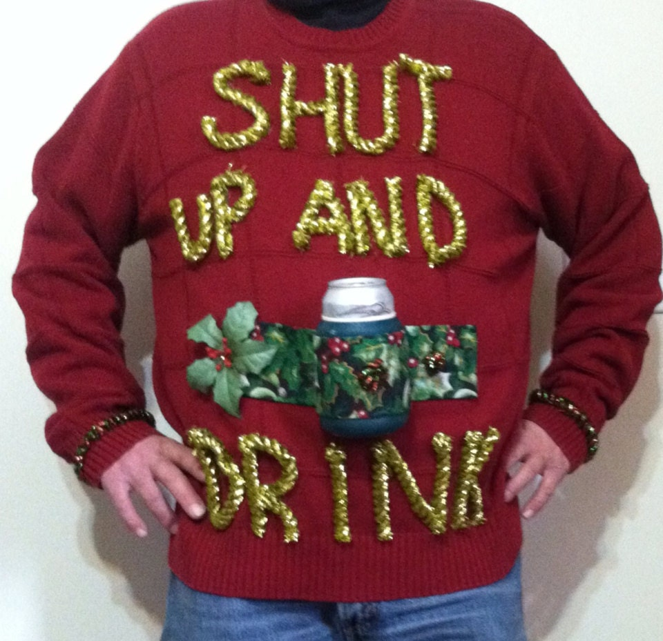 Ugly Christmas Party Sweaters: Ugly Christmas Sweater Shut Up And Drink Party Beer Designated