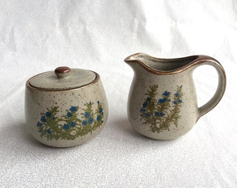 Cream and sugar/ vintage ceramic cream and sugar set/ beige with blue flowers glass cream and sugar set