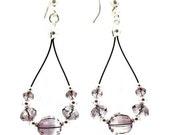 Crystal Earrings - Antique Pink - Dangle Earrings - Beaded Jewelry - Sterling Silver - Tear Drop Hoops - Handmade Earrings