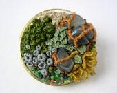 DISCOUNT Bottle Cap Terrarium Pin Brooch - OOAK repurposed embroidery brooch