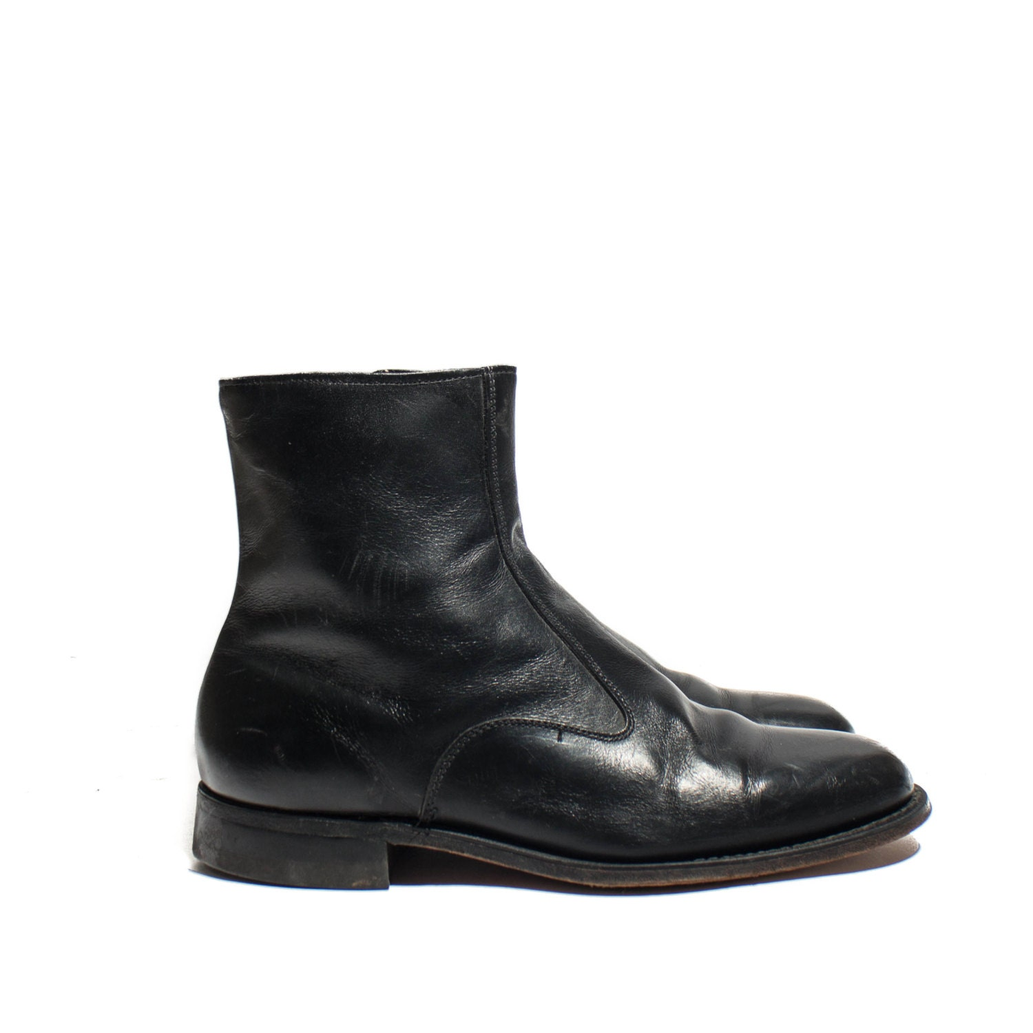 Men's Zipper Ankle Boots in Black Leather Beatle Boots for