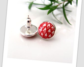Red Pyramid, Paper Studs Earrings