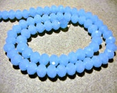 Crystal Beads  Faceted Blue Opaque Rondelles 6x4MM