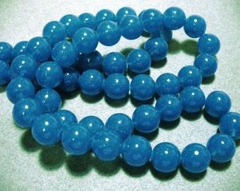 Jade Glass Beads Blue Round 10MM