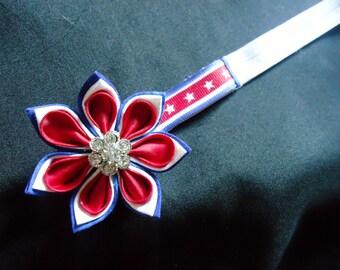 Red, White and Blue Kanzashi Headband