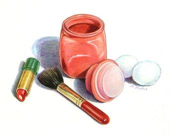 Bathroom Art, Powder Room Art Print, Cosmetics Still Life Art, Home Decor Wall Art, Bathroom Watercolor & Colored Pencil Drawing