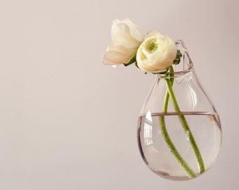 Hanging Wall Vase / Hand Blown Glass Art / Transparent Clear Glass / Wall Decor / Wall Art