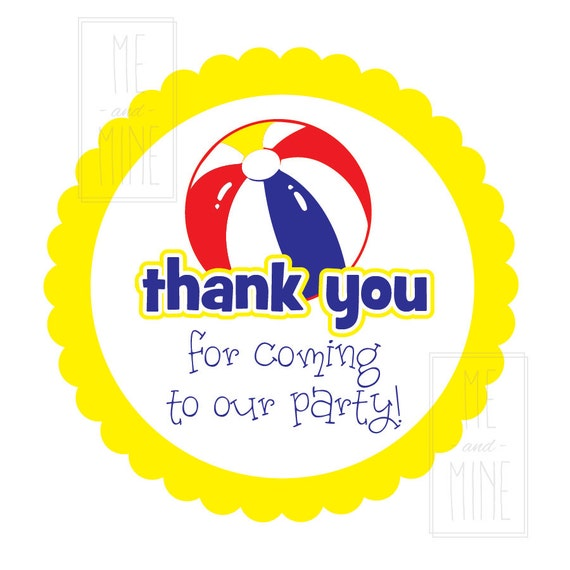 Pool Party Favor Tags Thank You For Coming To Our