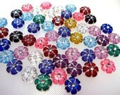 Acrylic Multi Colored Flower Beads x 100