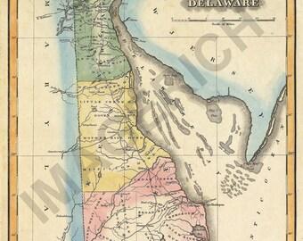 Vintage State Map - Deleware 1823