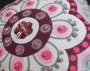 Two pink and grey beaded flowers - felt and fabric ornaments