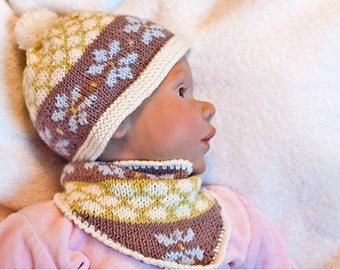 """Pattern for baby set """"Crystal"""" - Hat and cowl"""