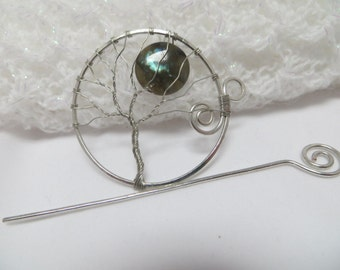 Silver Tree of Life Hair Pin, Silver Tree of Life Shawl Pin, Silver Wire Wrapped Tree With  Labradorite Moon