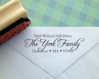 Calligraphy Typography Return Address Stamp