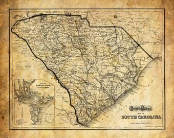 South Carolina Map Vintage Print Poster Grunge