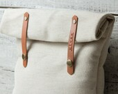Personalized lunch bag for school work. Natural canvas cream color, genuine tan leather. Kitchen.